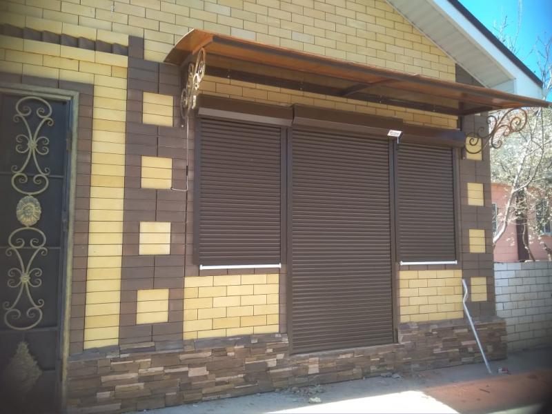 Рольставни Алютех на окна и дверь, цвет коричневый, 45 профиль