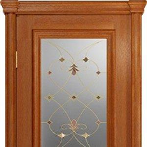 Межкомнатная дверь Арт Деко Аттика-2-2, цвет красное дерево, витраж Калипсо