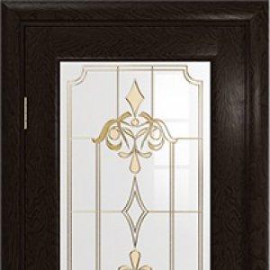Межкомнатная дверь Арт Деко Ченере-1, стекло нуво, шпон ясень, цвет фуокко