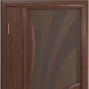 Межкомнатная дверь Арт Деко Ветра-1 тонированный триплекс с рисунком, американский орех