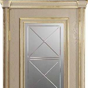 Межкомнатная дверь Арт Деко Аттика-2-2, цвет слоновая кость, стекло гравировка