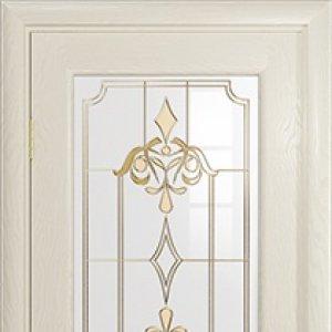Межкомнатная дверь Арт Деко Ченере-1, стекло нуво, шпон ясень, цвет аква