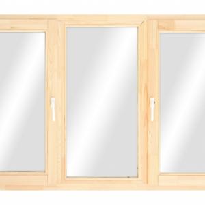 Окно эконом из сосны трехстворчатое глухое / поворотное / глухое / глухая фрамуга