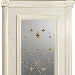 Межкомнатная дверь Арт Деко Аттика-2-2, цвет аква, витраж Калипсо