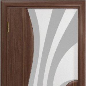 Межкомнатная дверь Арт Деко Ветра-1 Белый триплекс с рисунком, американский орех