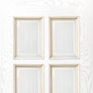 Межкомнатная дверь Дворецкий Финестра глухая с патиной белый ясень
