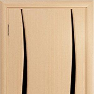 Межкомнатная дверь Арт Деко Вэла 2 белёный дуб стекло чёрное