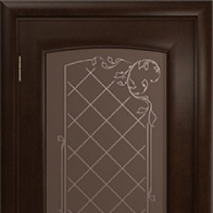 Межкомнатная дверь Арт Деко Парма, махагон, стекло бронза