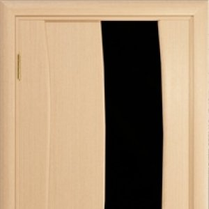 Межкомнатная дверь Арт Деко Вэла арт белёный дуб стекло чёрное