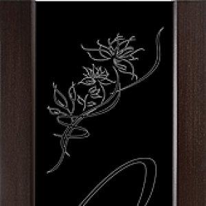 Межкомнатная дверь Арт Деко Бриллиант стекло чёрное, цвет Венге