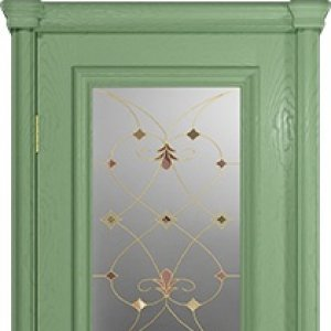 Межкомнатная дверь Арт Деко Аттика-2-2, цвет фисташка, витраж Калипсо