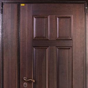 Входная двустворчатая дверь СТАЛ 100 с панелью из массива дуба и панелью Модерн