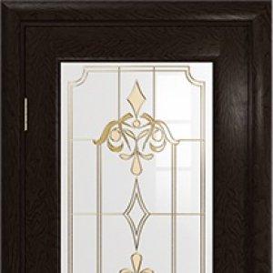 Межкомнатная дверь Арт Деко Ченере-2, стекло нуво, шпон ясень, цвет фуокко