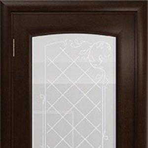 Межкомнатная дверь Арт Деко Парма, махагон, стекло белое