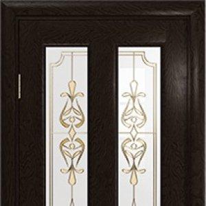 Межкомнатная дверь Арт Деко Ченере-3, стекло нуво, шпон ясень, цвет фуокко