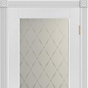 Межкомнатная дверь Principiano 2 белая ночь с остеклением