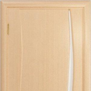 Межкомнатная дверь Арт Деко Вэла 1 белёный дуб стекло белое