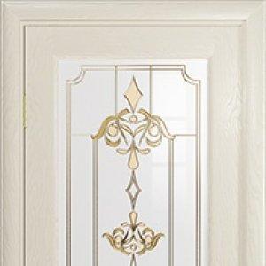 Межкомнатная дверь Арт Деко Ченере-4, стекло нуво, шпон ясень, цвет аква