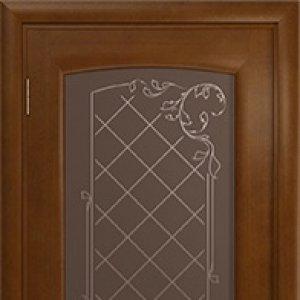 Межкомнатная дверь Арт Деко Парма, итальянский орех, стекло бронза