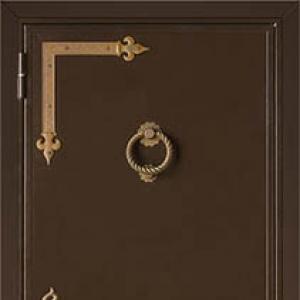 Входная дверь СТАЛ 65 с порошковой покраской и панелью Фибропараллель с зеркалом