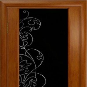 Межкомнатная дверь Арт Деко Спация-3 анегри тёмное, стекло чёрное, рисунок со стразами