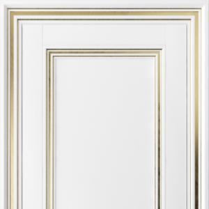 Межкомнатная дверь Волховец Centro 2501. Белоснежный поталь золотая