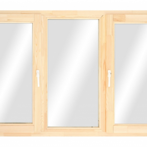 Окно из лиственницы трехстворчатое поворотное/ глухое/ повор.-откидное