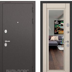 Входная дверь Бульдорс STANDART-90 Черный шелк/Ларче бьянко 9P-140 зеркало