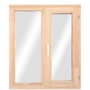 Окно из лиственницы или сосны класса стандарт двухстворчатое поворотное /пов.-откидное/ глухая фрамуга