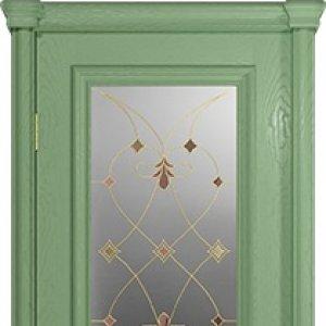Межкомнатная дверь Арт Деко Аттика-1, цвет фисташка, витраж Калипсо