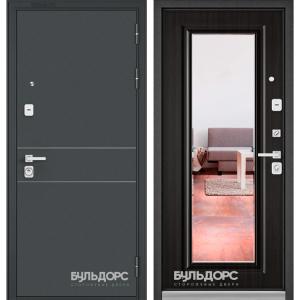 Входная дверь Бульдорс PREMIUM-90 Черный шелк D-14/Ларче темный 9P-140 зеркало