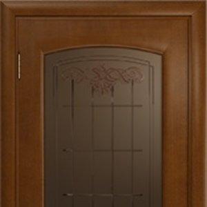 Межкомнатная дверь Арт Деко Оливия, итальянский орех, стекло бронза