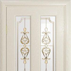 Межкомнатная дверь Арт Деко Ченере-3, стекло нуво, шпон ясень, цвет аква