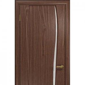 Межкомнатная дверь Арт Деко Лиана-1 анегри тёмное белое стекло