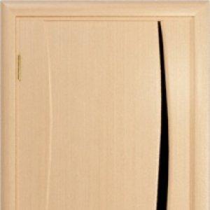 Межкомнатная дверь Арт Деко Вэла 1 белёный дуб стекло чёрное