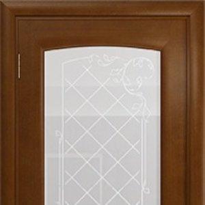 Межкомнатная дверь Арт Деко Парма, итальянский орех, стекло белое