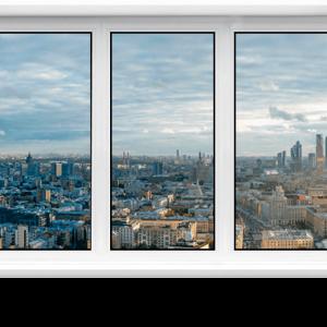 Пластиковое окно 1900 х 1100мм трехстворчатое VEKA WHS 60