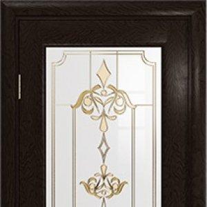 Межкомнатная дверь Арт Деко Ченере-4, стекло нуво, шпон ясень, цвет фуокко
