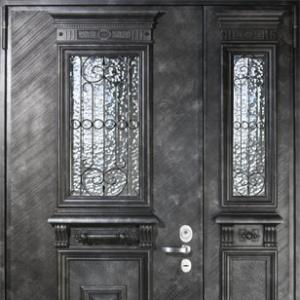 Входная двустворчатая дверь СТАЛ 100 с отделкой Авандор Опус Рельеф и панелью Фибропараллель