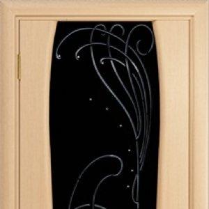 """Межкомнатная дверь Арт Деко Лиана-3 стразы, Белёный дуб , стекло чёрное, """"Арт Деко"""""""