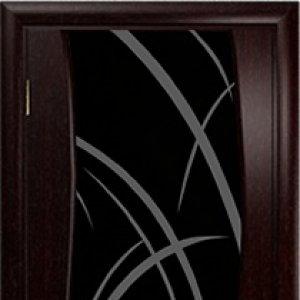 Межкомнатная дверь Арт Деко Вэла венге, стекло чёрное , рисунок