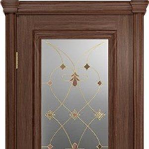 Межкомнатная дверь Арт Деко, Аттика-1, цвет Американский орех, витраж Калипсо