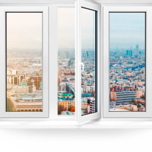 Пластиковое окно Rehau Blitz трехстворчатое 2100x700мм