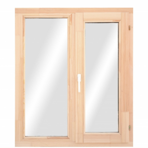 Окно из лиственницы или сосны класса стандарт двухстворчатое поворотное/пов.-откидное