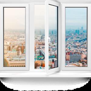 Пластиковое окно Rehau Blitz трехстворчатое 2600x700мм
