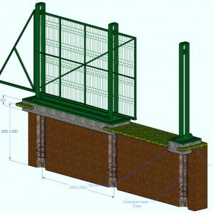 Установка откатных ворот на сваях